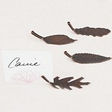 Metal Leaf-Shaped Placecard Holders w/ Autumn Bronze Finish (Set of 8)