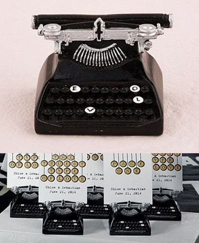 Vintage Typewriter-Shaped Place Card Holders (Package of 6)