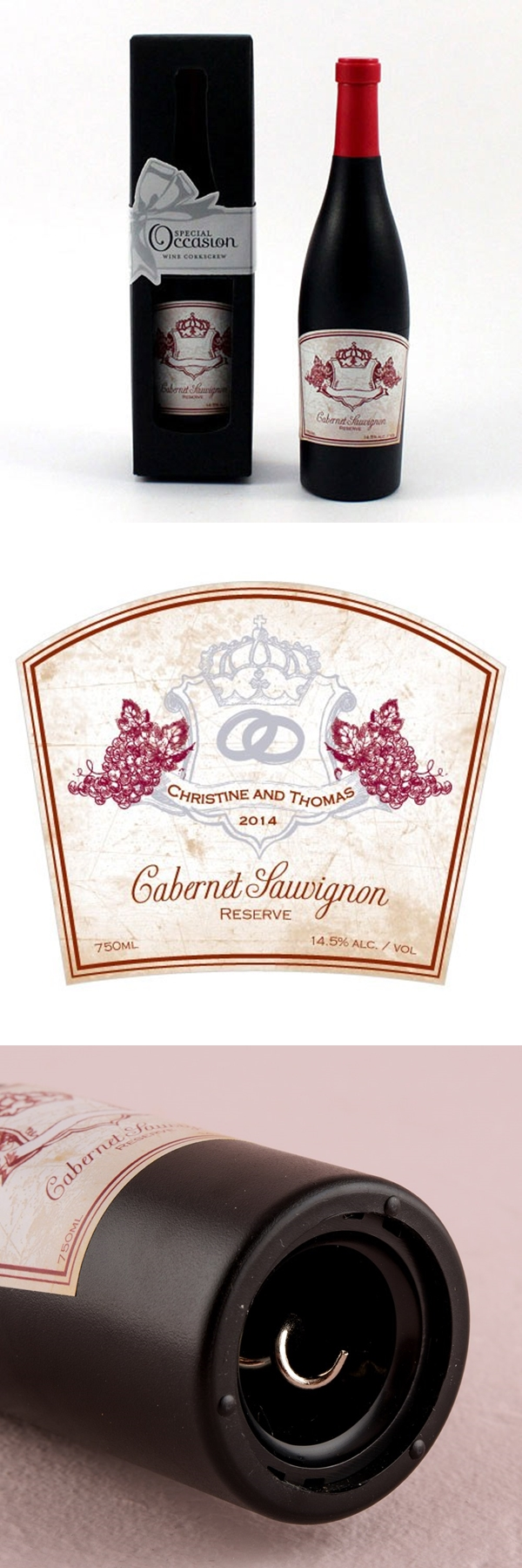 Weddingstar Wine Bottle-Shaped Corkscrew with Aged Vineyard Label