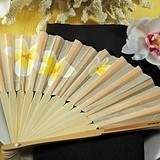 Tropical Hand Fan with a Romantic Plumeria Floral Print (Set of 6)