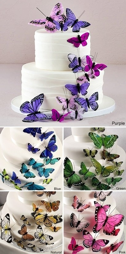 Weddingstar Beautiful Butterfly Cake Ornaments 5 Colors Set Of 24
