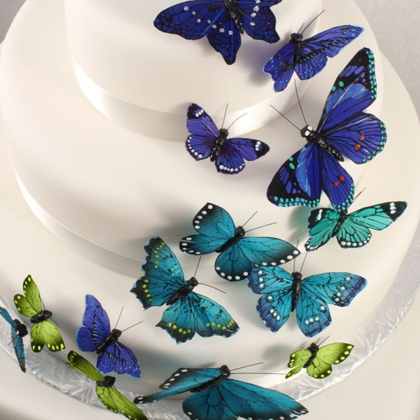 """""""Something Blue"""" Butterfly Cake Ornaments (Set of 24)"""
