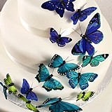 """Something Blue"" Butterfly Cake Ornaments (Set of 24)"