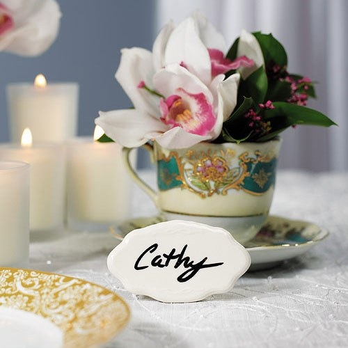 Weddingstar White Glazed-Ceramic Reusable Place Markers (Set of 8)