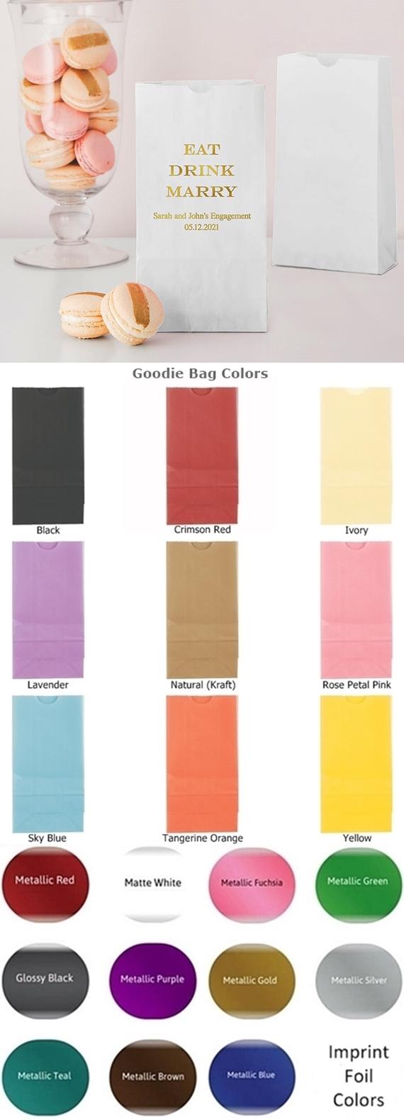 Eat Drink Marry Self-Standing Printed Goodie Bags (10 Colors)