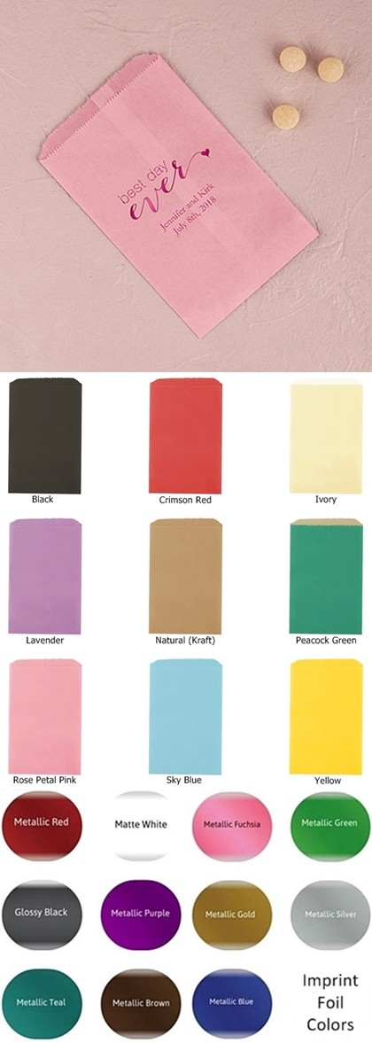 Best Day Ever Motif Foil-Printed Flat Printed Goodie Bags (10 Colors)