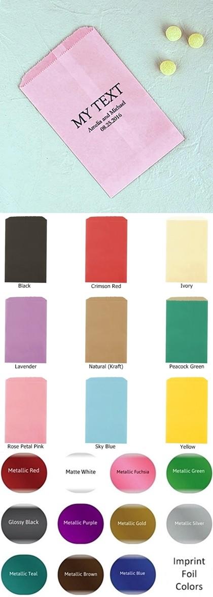 Custom Word 'My Text' Foil-Printed Flat Goodie Bags (10 Colors)