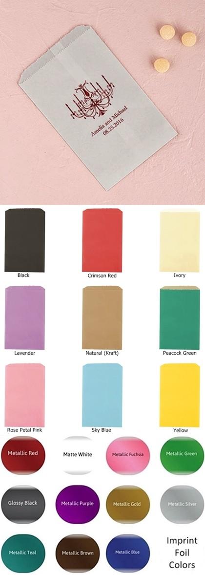 Elegant Chandelier Foil-Printed Flat Goodie Bags (10 Colors)