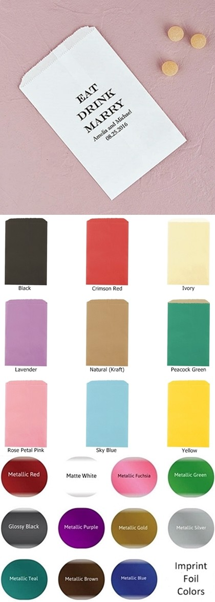 """Eat Drink Marry"" Foil-Printed Flat Goodie Bags (10 Colors)"