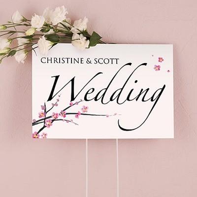 Weddingstar Two-Sided Personalized Cherry Blossom Motif Wedding Sign