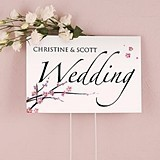 Weddingstar Two-Sided Personalized Cherry Blossom Motif Wedding Sign