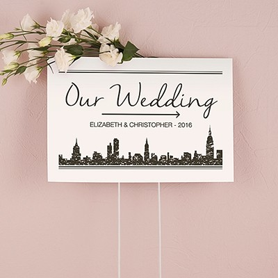 """Personalized """"City Style"""" Skyline Design Directional Sign"""