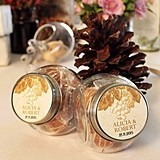 Mini Glass Candy Jar w/ Personalized Wine Romance Sticker (Set of 12)