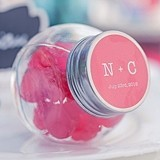 Mini Glass Candy Jar w/ Monogrammed Candy Colorful Sticker (Set of 12)