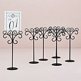 Tall Ornamental Black Wire Stationery/Place Card Holders (Set of 6)