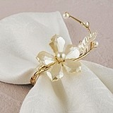 Pearl & Vintage Gold Wire Ornamental Floral-Motif Mini Ring (Set of 8)