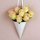 Decorative White Metal Cone with Embossed Rose Pattern (Set of 4)