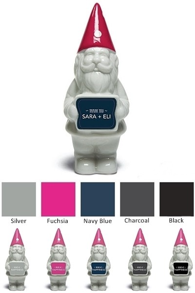 4 Personalized Porcelain Miniature Gnomes with Fuchsia Polka-Dot Hats