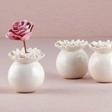 Pretty Petals Miniature Porcelain Vases with Dahlia Opening (Set of 4)