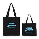 """HELLO Summer"" Personalized Black Canvas Tote Bag"