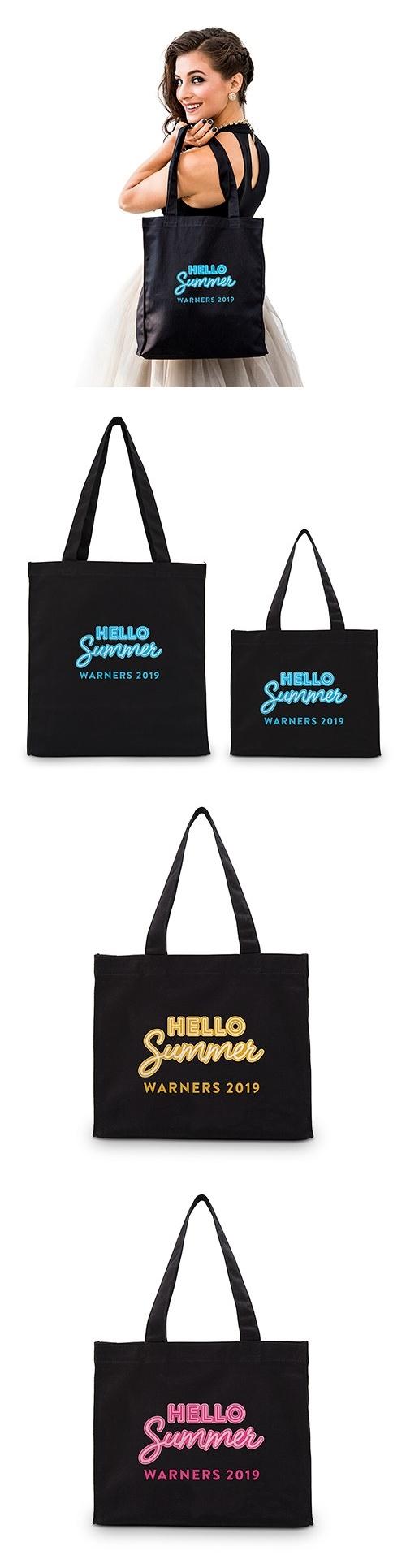 """HELLO Summer"" Personalized Black Canvas Tote Bag"