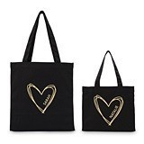Weddingstar Personalized Heart Black Canvas Tote Bag with Gussets