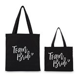 "Weddingstar ""Team Tribe"" Black Canvas Tote Bag with Gussets"