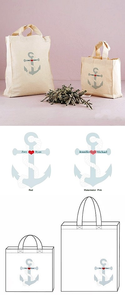 Weddingstar nautical anchor design personalized tote bags for 10 minute table runner 30 minute tote bag