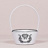 Black & White Love Bird Damask Collection Flower Girl Basket