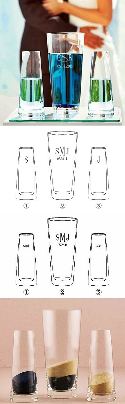 Personalizable Classic Sand Ceremony or Water Ceremony Vase Set