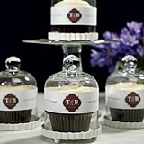 Personalized Mini Glass Bell Jars with White Fluted Bases (Set of 4)