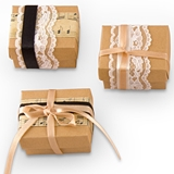 Kraft-Paper & Lace Vintage Style Favor Wrapping Kit (Set of 12)