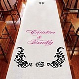 Love Bird Damask Motif Personalized Aisle Runner (15 Colors)