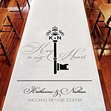 """Love is the Key"" Personalized Aisle Runner w/ Key Monogram"