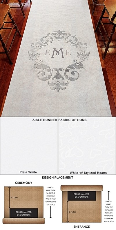 """Monogram Simplicity"" Design Personalized Aisle Runner"