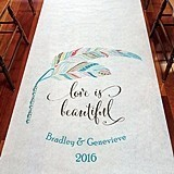 """Feather Whimsy"" Design Personalized Aisle Runner"