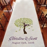 Weddingstar Two Lovebirds in a Blooming Tree Personalized Aisle Runner