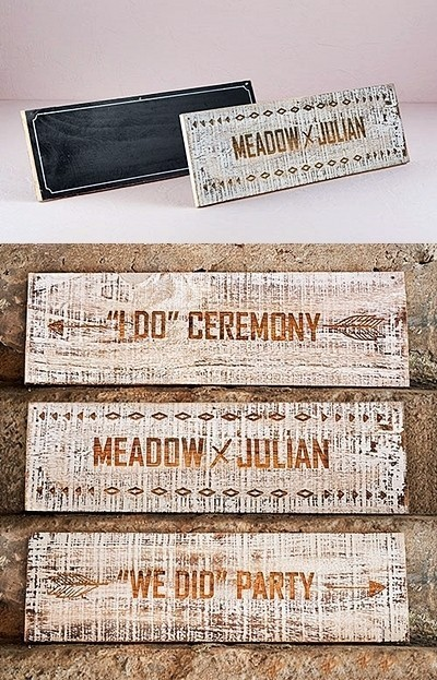 Personalized Wood & Chalkboard Two-Sided Sign Boards (Package of 2)