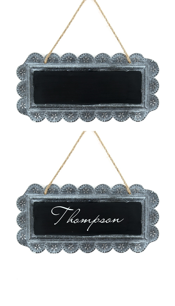Personalizable Large Scalloped-Edge Tin Sign/Frame with Chalkboard