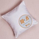 """Notable"" Personalized Ring Pillow with Circle Foral Design"
