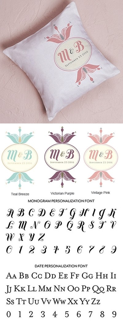 """Notable"" Personalized Ring Pillow with Double Foral Design"