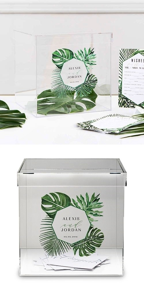 Personalized Acrylic Phantom Wishing Well Box with Greenery Printing