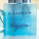 Weddingstar Aqueous Design Personalized Acrylic Square Cake Topper