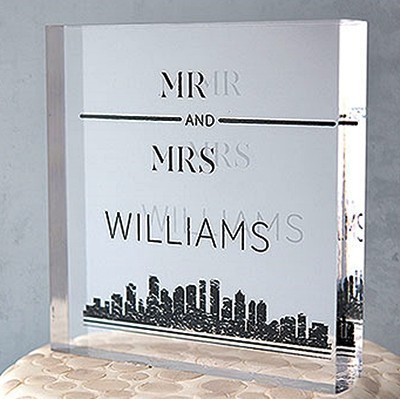 """City Style"" Personalized Acrylic Square Cake Topper"