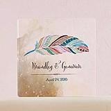 """Feather Whimsy"" Personalized Acrylic Block Cake Topper"