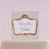 Weddingstar Vintage Frame Motif Personalized Acrylic Square Cake Top