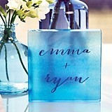 Weddingstar Aqueous Personalized Clear Acrylic Block Cake Topper