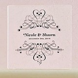 Fanciful Filigree Design Personalized Clear Acrylic Block Cake Topper