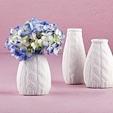 Mini Faux Cable-Knit Pattern Porcelain Vases (2 Designs) (Set of 4)