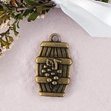 Weddingstar Wine Barrel Charms with Antique Brass Finish (Set of 12)